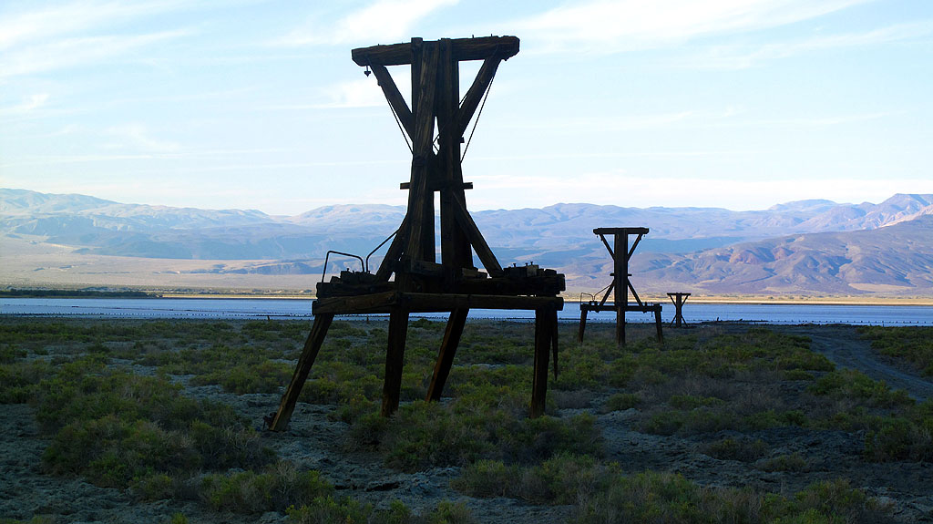 The remaining towers of the Salt Tram near Saline Lake. At the turn of the (last) century, salt was mined, then carried 14 miles over the Panamint Mountains to the town of Keeler in the Owens Valley. It operated sporadically from 1913 to 1936, but ultimately proved too expensive to operate.