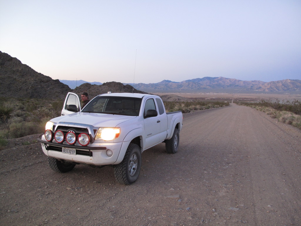 Pausing for a comfort break on the road between Barstow and Vegas. Leaving Sandy Valley en route to our camp site.