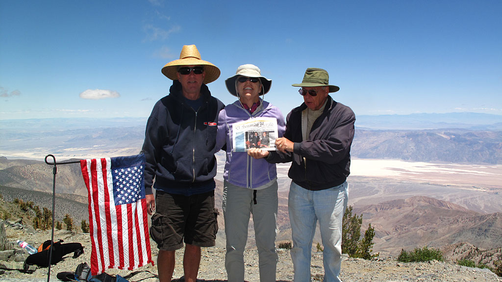 Jim, Carol and Dave, snapping a photo at the top of Telescope while holding the El Segundo Herald. The photo would later be published in the paper - of course they first ran it through their filter which softens the focus, and washes out colors.