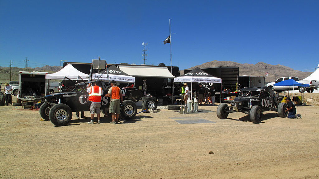 The Class 1 cars are given last-minute prep at the main pits.