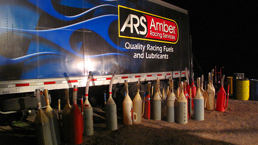 Staged race fuel at the BFG pits near La Purisima, RM750.