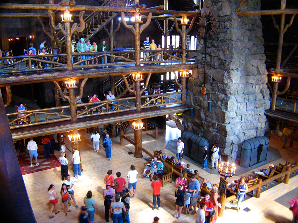 """With its spectacular log and limb lobby and massive (500-ton, 85-foot) stone fireplace, the inn is a prime example of the """"Golden Age"""" of rustic resort architecture, a style which is also known as National Park Service Rustic."""