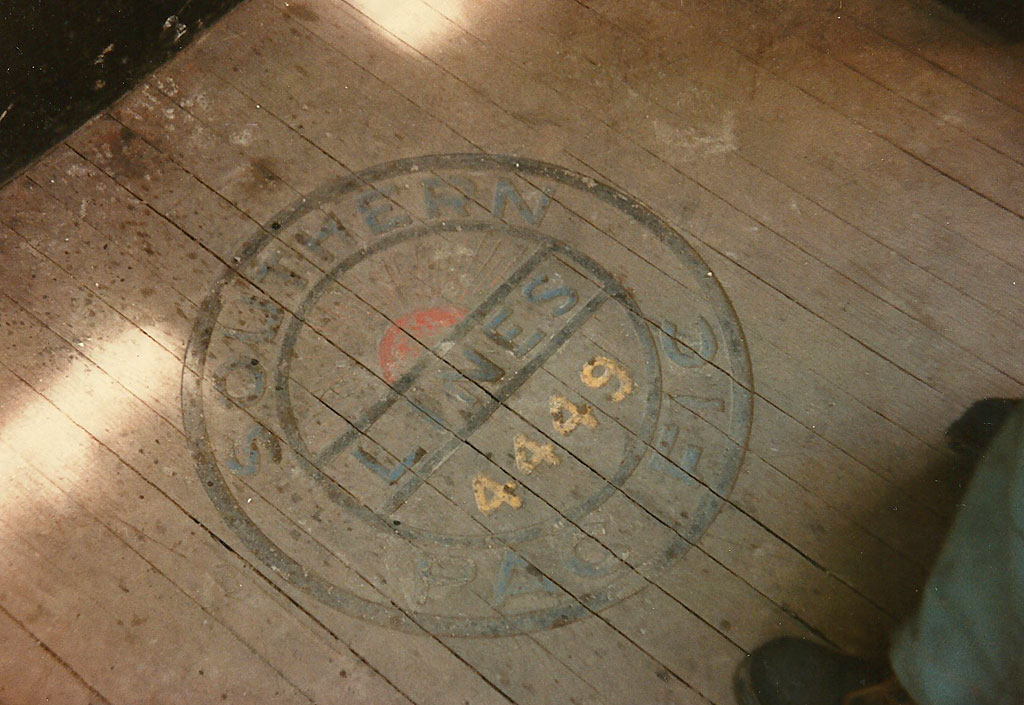 """The floor of the 4449 was embossed with the SP """"Drumhead"""" logo."""
