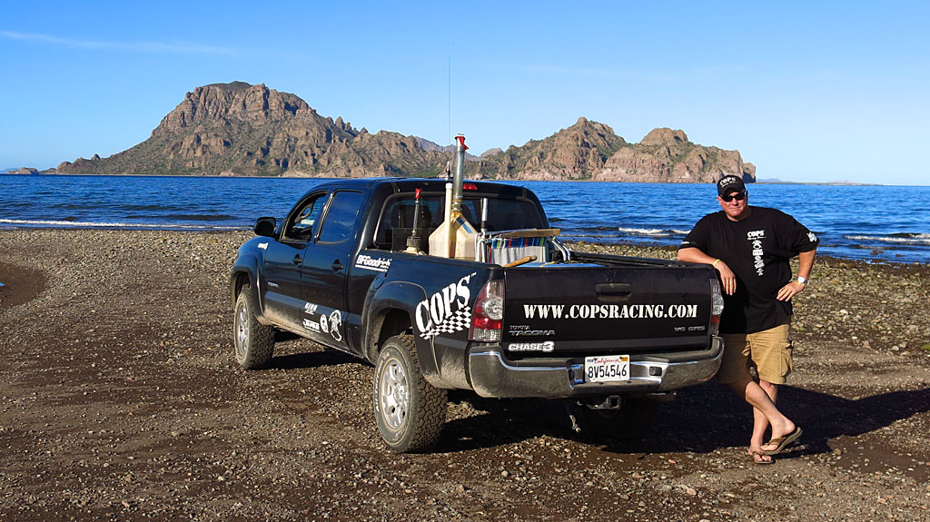 During our drive down Baja, Steve and I took a break on the beach at Ligui. Isla Danzante mostly hides the much larger Isla del Carmen behind.