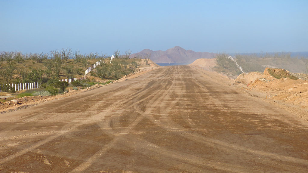 Looking north toward Gonzaga Bay on the newly graded right-of-way. Soon, this will be covered in an oily black substance.