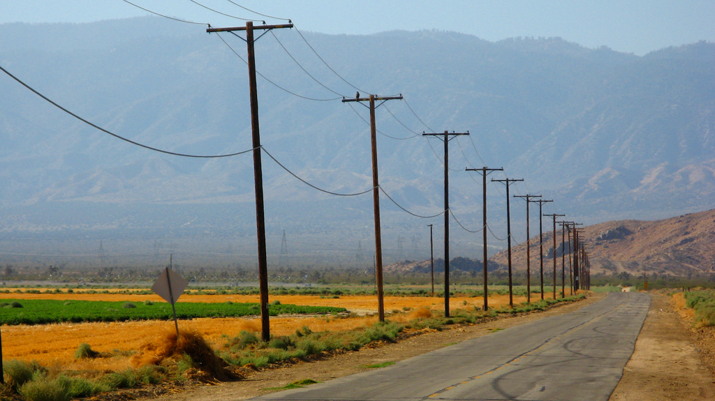 A pole line in Antelope Valley, California.