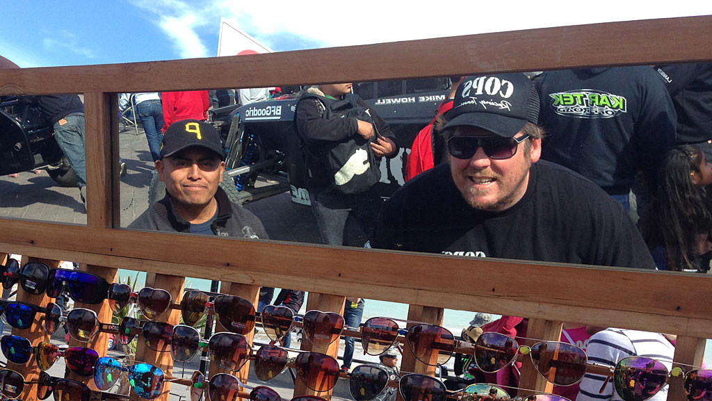 Zak gets some new sunglasses while passing thru Contingency - gotta look good while piloting the Trophy Truck.