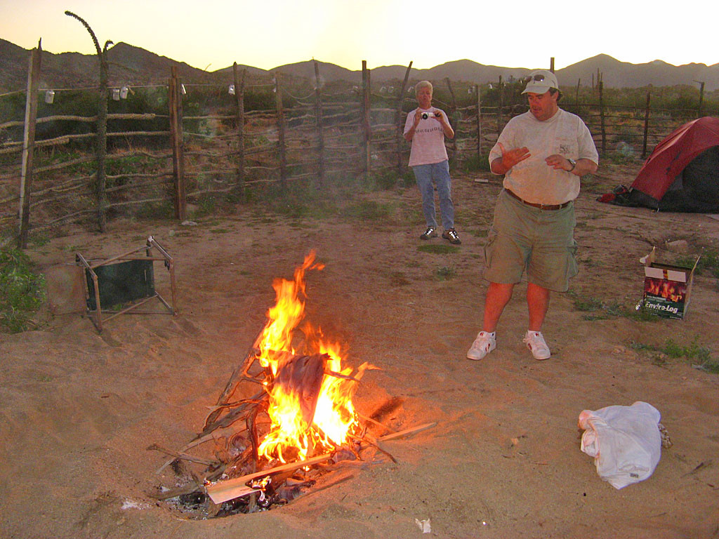 Mike's take-away from this trip: white shorts are not a good idea when camping in Baja. On our last night at Coco's, his trou got ceremoniously burned in our campfire.
