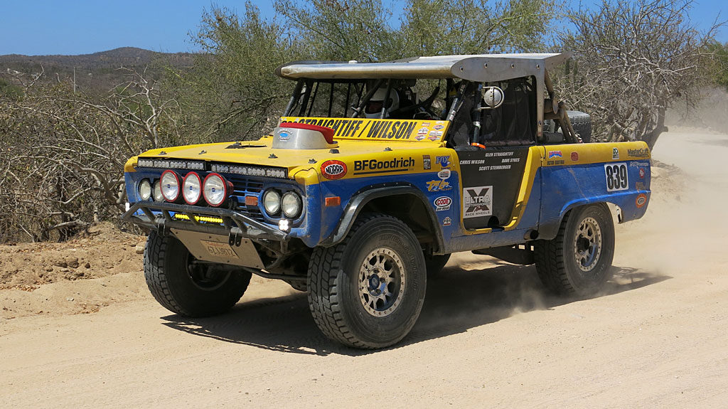 Chris Wilson and Glen Straightiff working for the finish in the Vintage Class 1966 Ford Bronco.