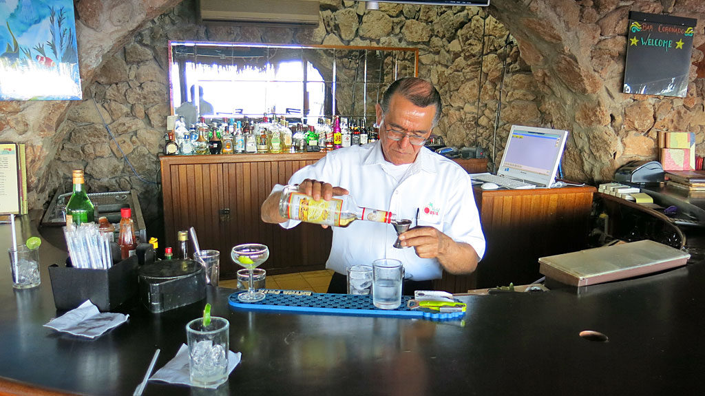 Where the best margaritas in the world are made: the bar at the Oasis Hotel in Loreto.