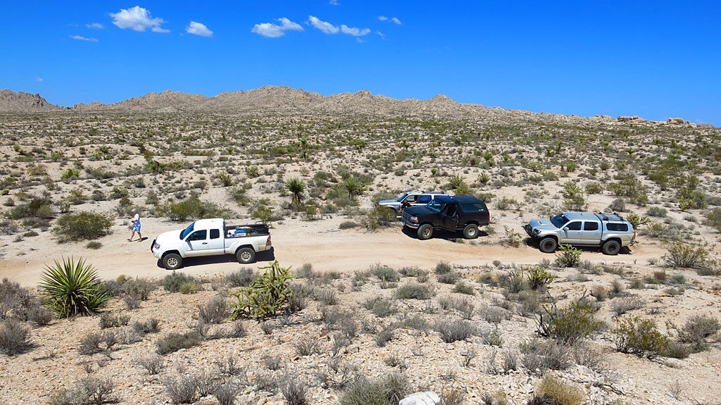 Our first comfort break on the Mojave Road, around a dozen miles west of the Colorado River, and just inside the California border.