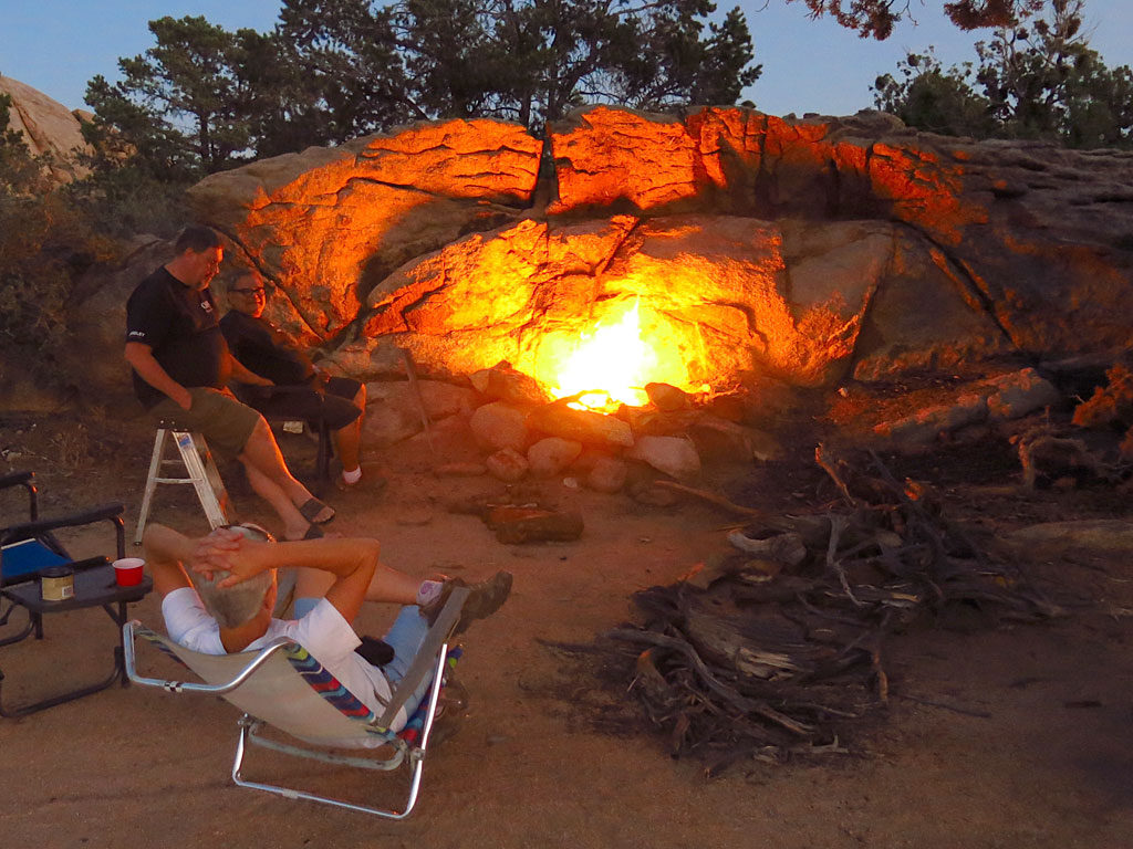 Our exceptionally adequate camp site/fire Friday night. At 5,400', overnight temps could not have been better.