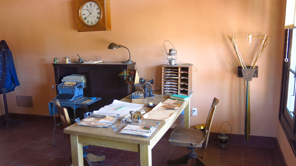 Many of the rooms in the depot have been refurbished to period - this is the old telegrapher's office.