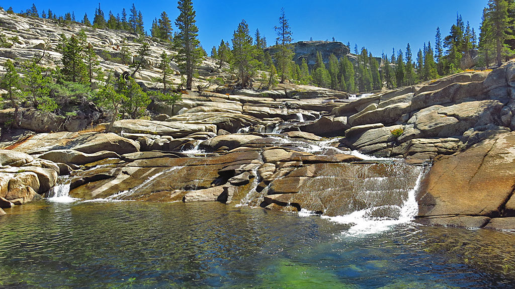 At the end of September, water flow was low in the Tuolumne. During spring runoff, this portion of the river would look more like rapids.