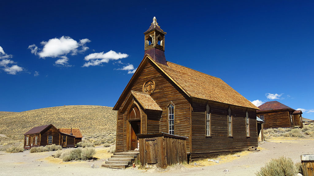 The iconic Bodie Methodist Church -- its first service was on September 15, 1882.
