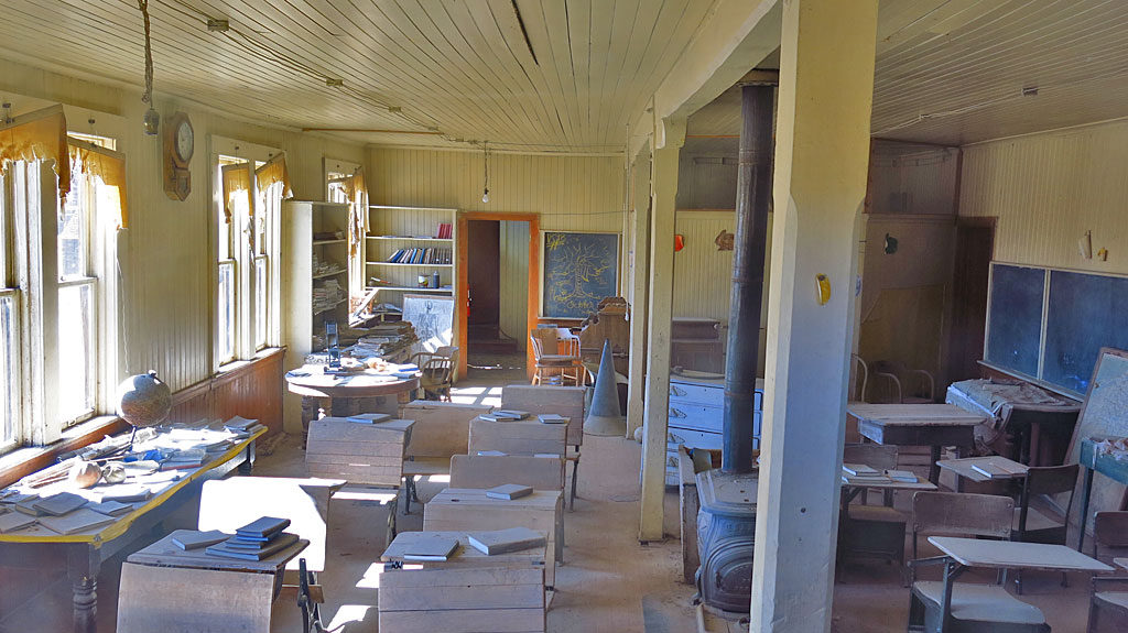 A ground floor school room in the two-story school house.