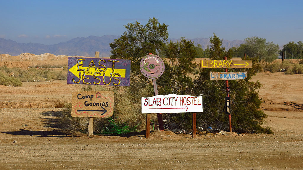 For our explore-in-the-desert day, we decided to visit the trifecta of eastern California tourist destinations: Salvation Mountain, Slab City, and East Jesus, all within an easy drive of each other.