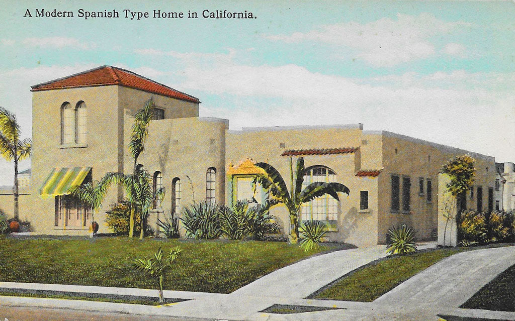 On front: A modern Spanish Type home in California.