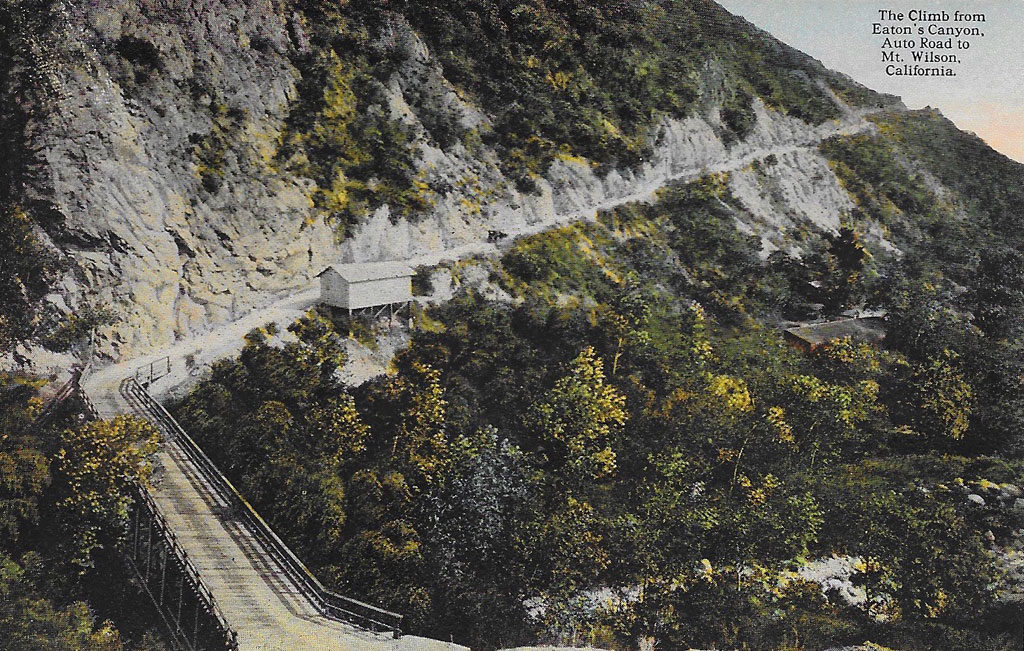 On Front: The Climb from Eaton's Canyon. Auto Road to Mt. Wilson, California.