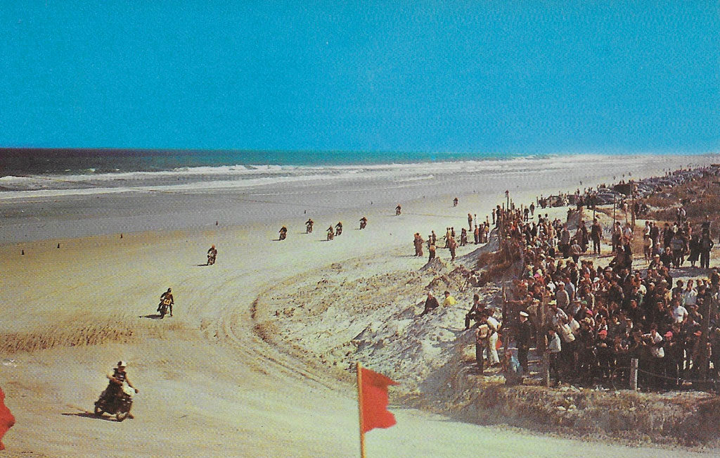 """On back: MOTORCYCLE RACE, Daytona Beach, Florida, """"Speed Capital of the World."""" World championships are decided annually in the 100-mile and 200-mile motorcycle races on the beach course."""