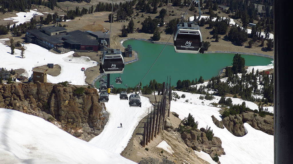 Mammoth is planning to be open for skiing and snowboarding through mid-August. Not so good for us mountain bikers -- our only riding options were the baby trails at the bottom of the mountain -- not worth a day's lift pass.