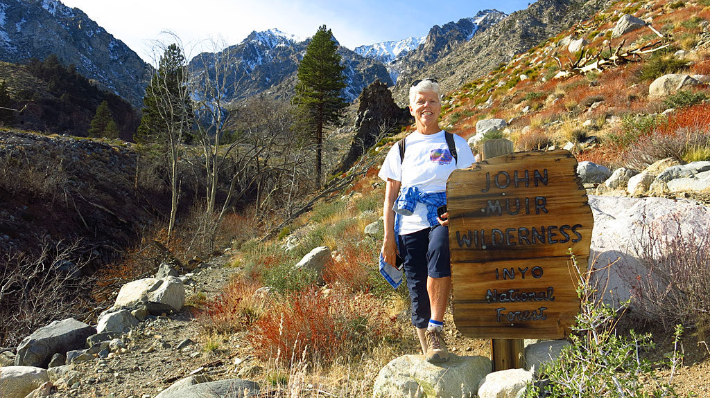 """Our traditional """"John Muir Wilderness sign photo"""" while hiking up the Baxter Pass Trail."""