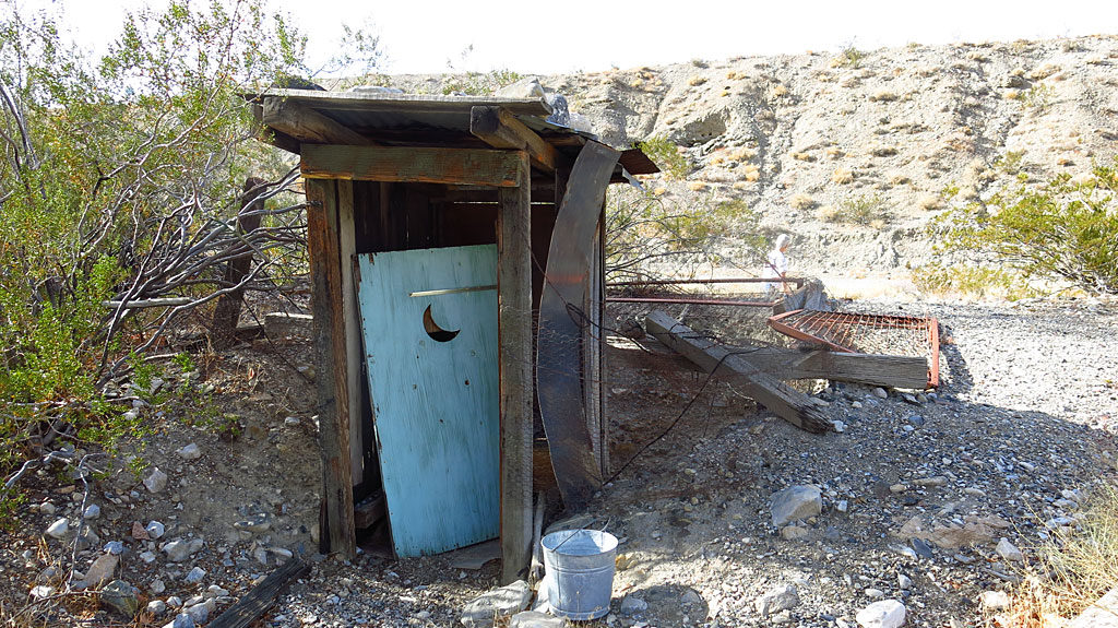 The guys at the Diggin's were creative -- they placed the sanitary facilities directly over an abandoned vertical mine shaft. Bombs away!