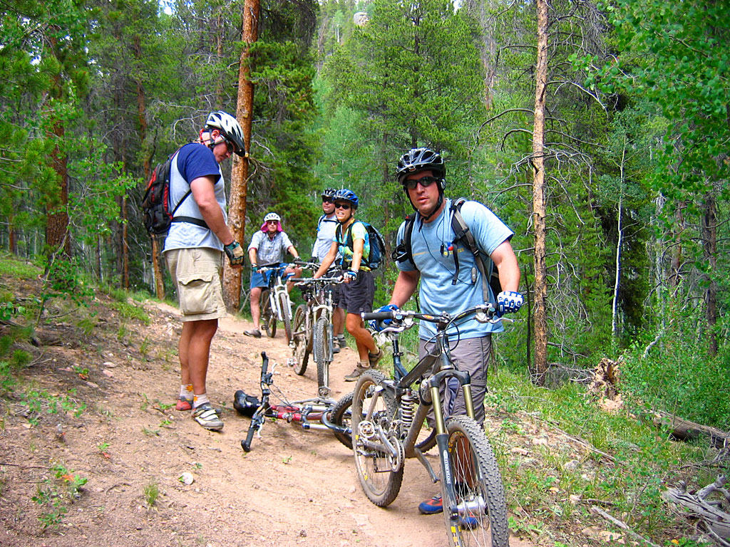 We regrouped while riding the 409 Trail with Abdul.