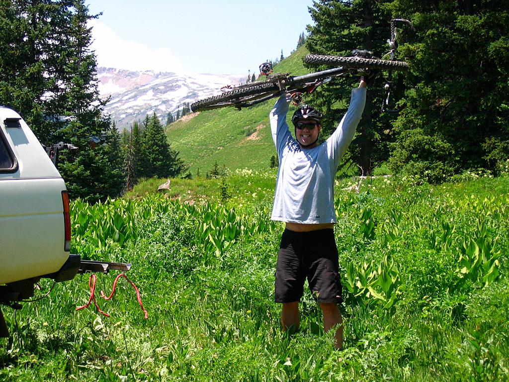 Mark assumes the obligatory mountain biker pose.