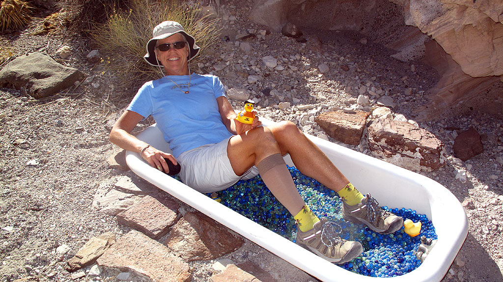 Carol is the first in our group to take advantage of the Marble Bath, near the summit of Steel Pass. To help the cause, we added a couple hundred blue marbles to the bath (which, as it turns out, is not a lot of marbles).