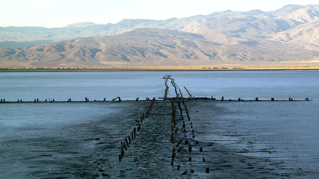 Remaining rotted piers, where salt used to be mined in Saline lake.