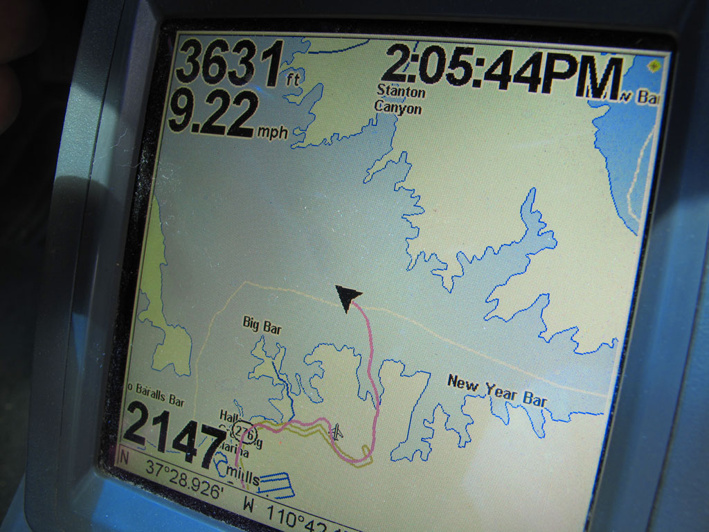 It was fun watching us cross Lake Powell at 9.22 mph (the pink line is our breadcrumbs) - I've never experienced a water crossing in our Toyota.