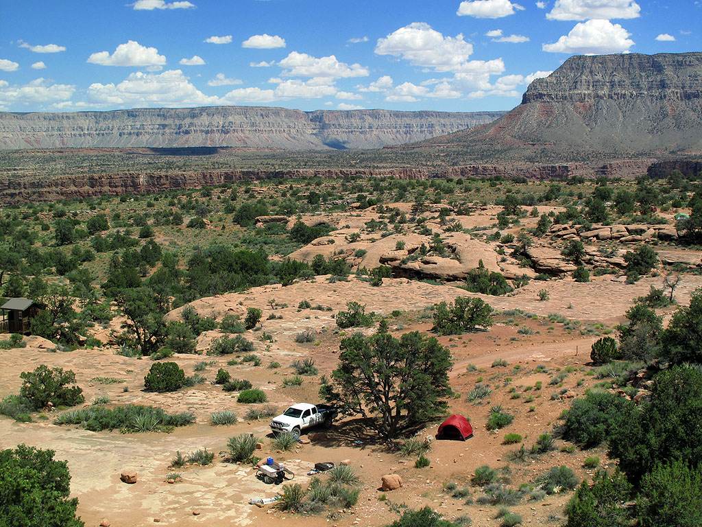 Our campsite. That rip in the earth, about 1/4 mile behind us, is the Grand Canyon. You really can't see it until you get to the edge.