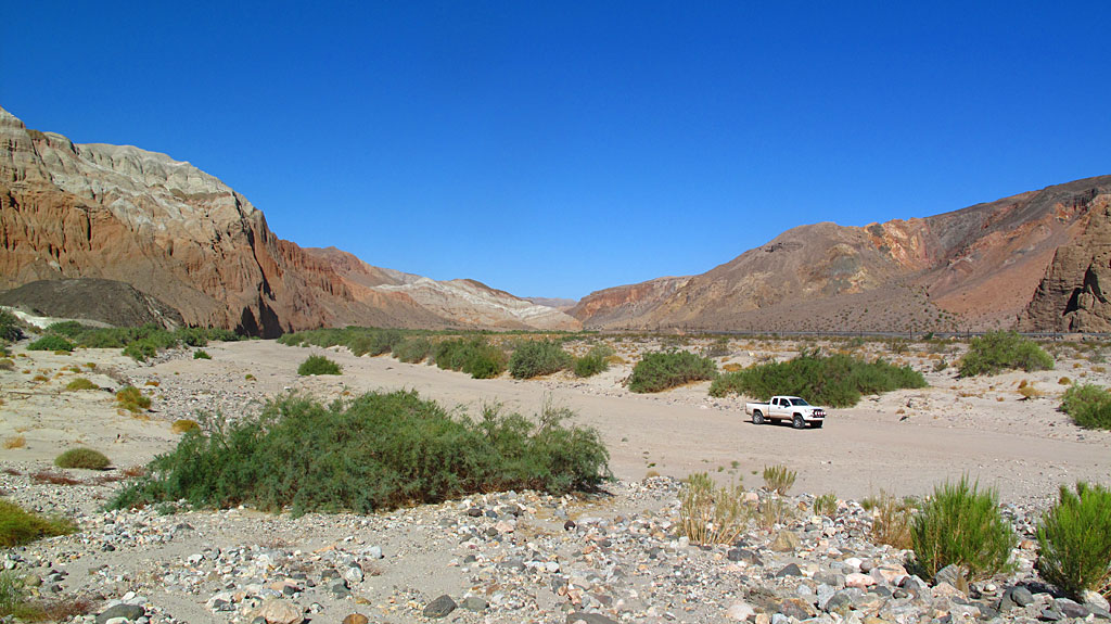 The Mojave Riverbed runs thru Afton Canyon, flowing away from the Pacific.