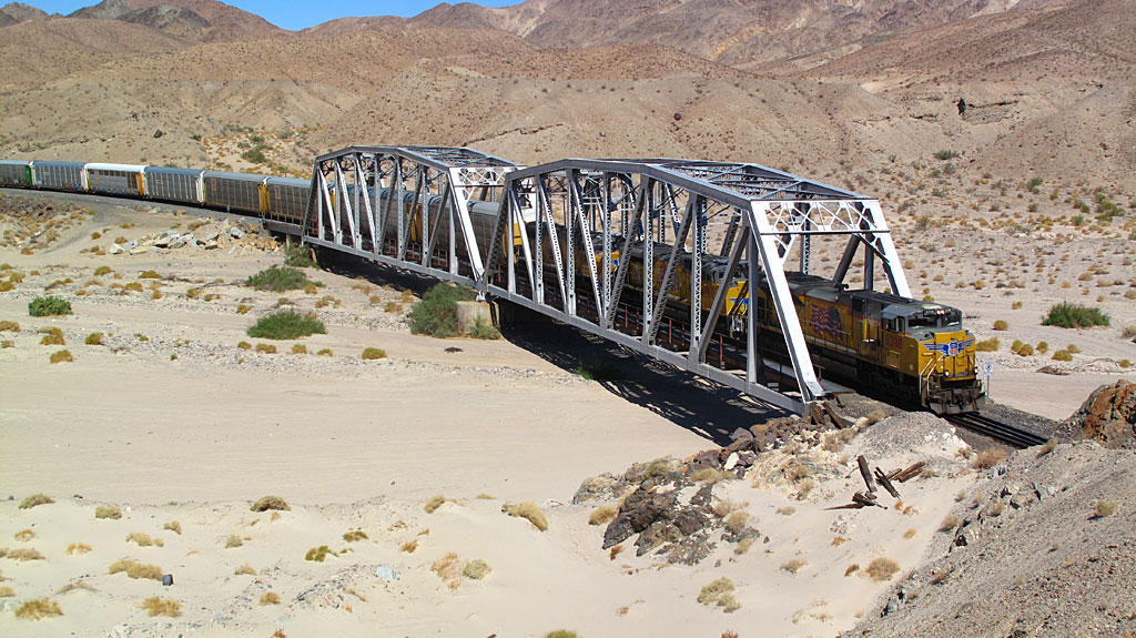 A train running northbound through Afton Canyon, on its way to Las Vegas and beyond.