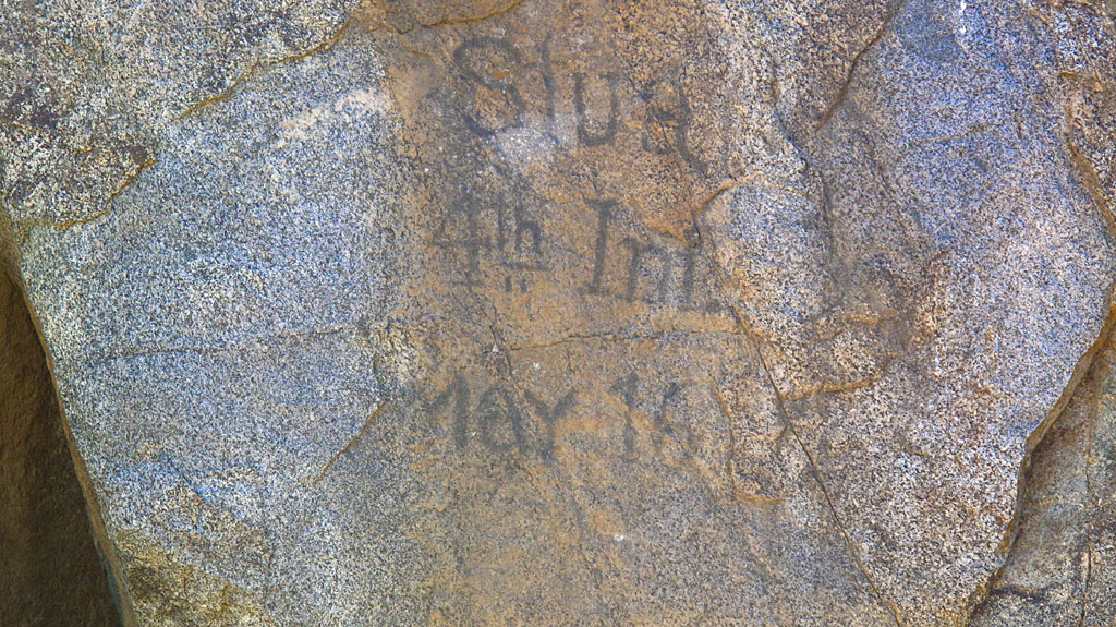 Old graffito at Ft. Rock Springs. There's also numerous Indian petroglyphs nearby.