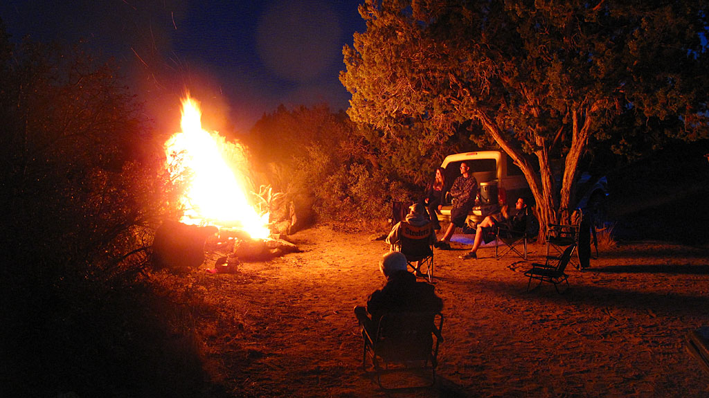 Igniting the campfire in Lanfair Valley.