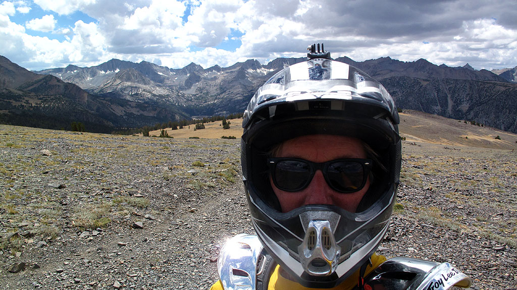 A self-portrait on Coyote Ridge with the Sierras in the background, a little over 11,000'. Comparing photos I've taken in past years, there's much less snow this year.