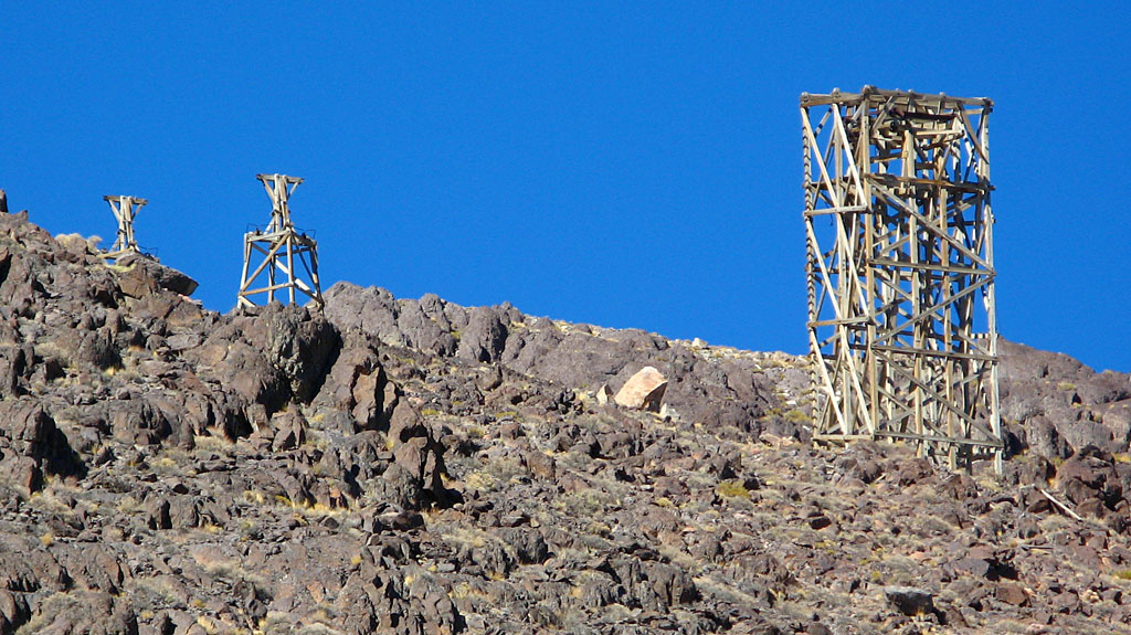 A few of the tram's remaining towers on the west side of the mountains.