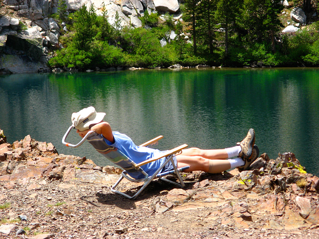 Relaxing at the upper Laurel Lake.