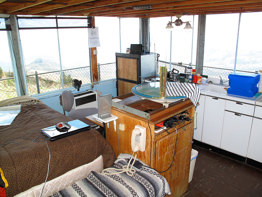 A peek inside the fire lookout tower.