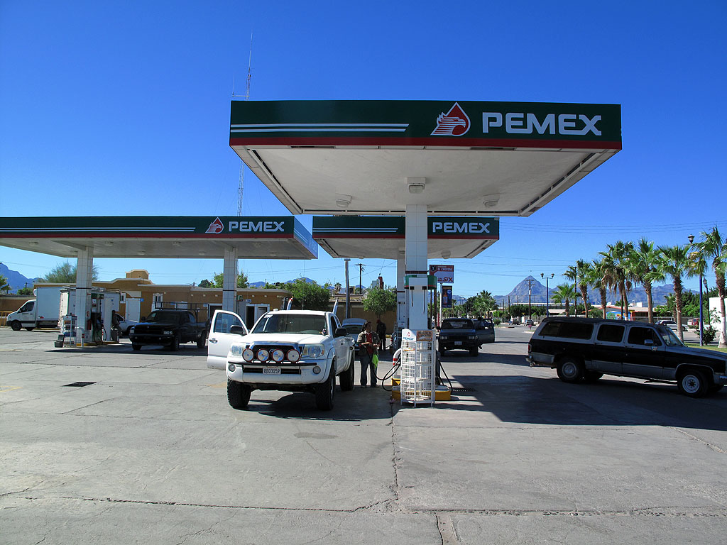 Gassing up at the Pemex station in Loreto.