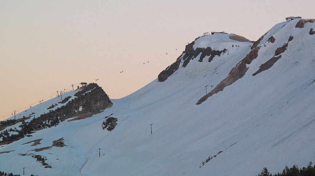 Deep snows on Mammoth Mountain (even on the Fourth of July) allowed summer boarding.