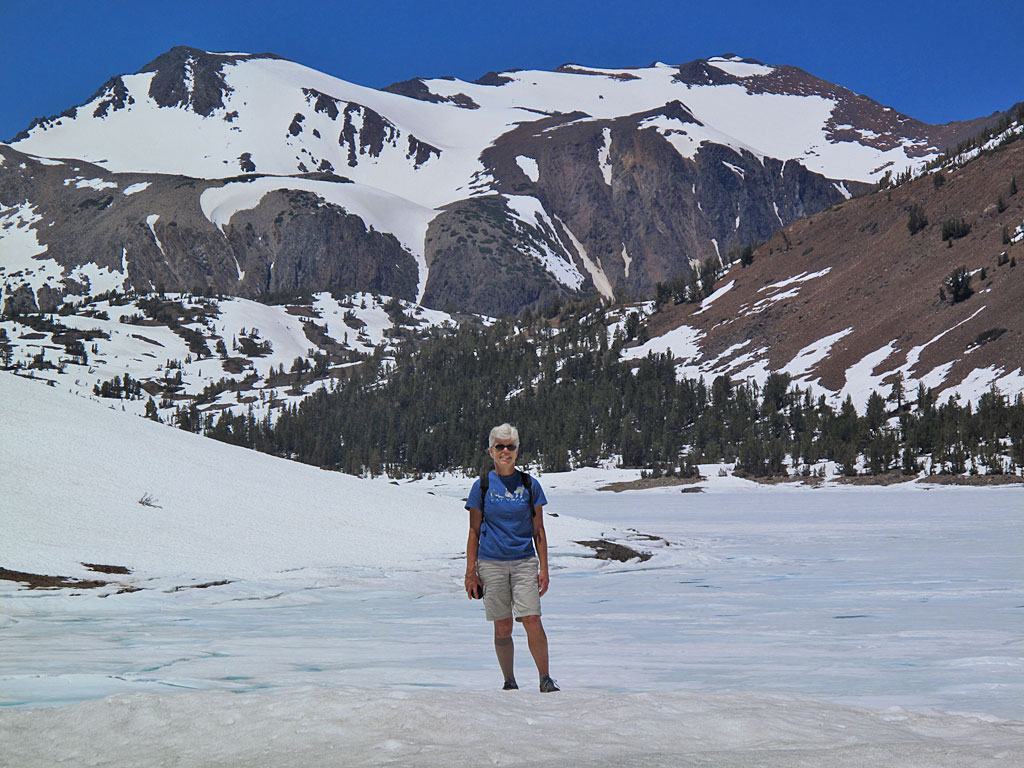 10,000' elevation with a frozen Saddlebag Lake in the background.
