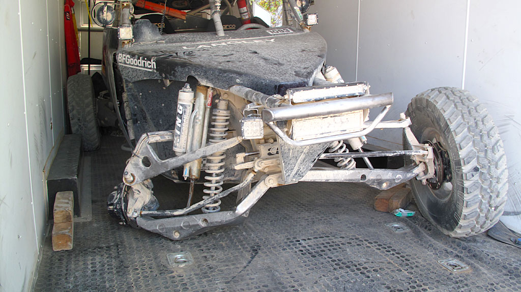 Post Mortem: The COPS Class 10 after the race and after the collision with a fatally-damaged front right suspension.