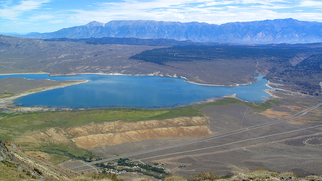 Crowley Lake from the top of McGee. Highway 395 runs along the bottom of the photo.