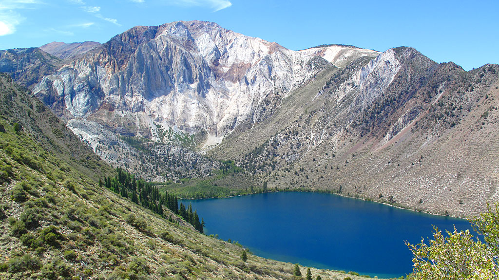 Convict Lake and Laurel Mountain (left of center).
