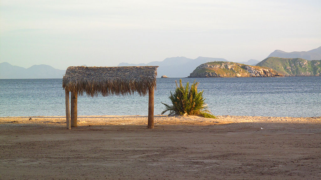 A palapa at Playa Santispac.