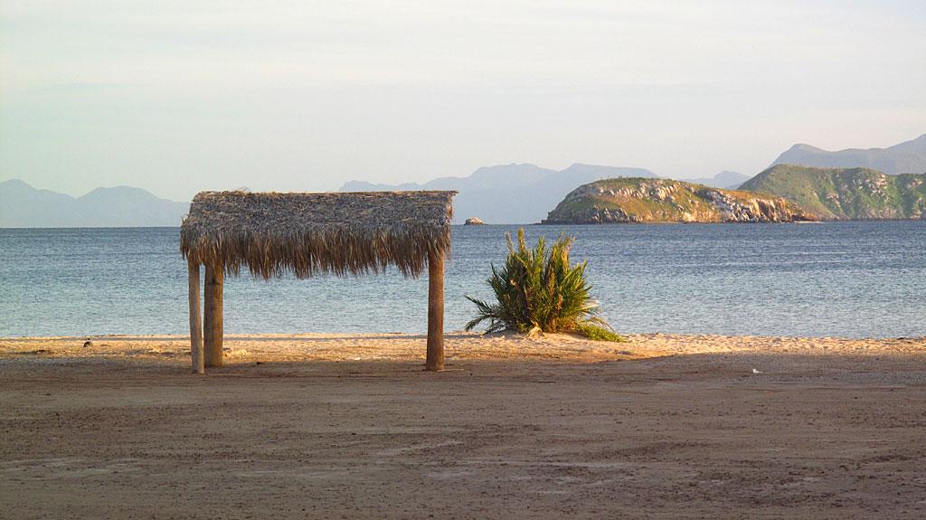 A palapa at Playa Santispac.