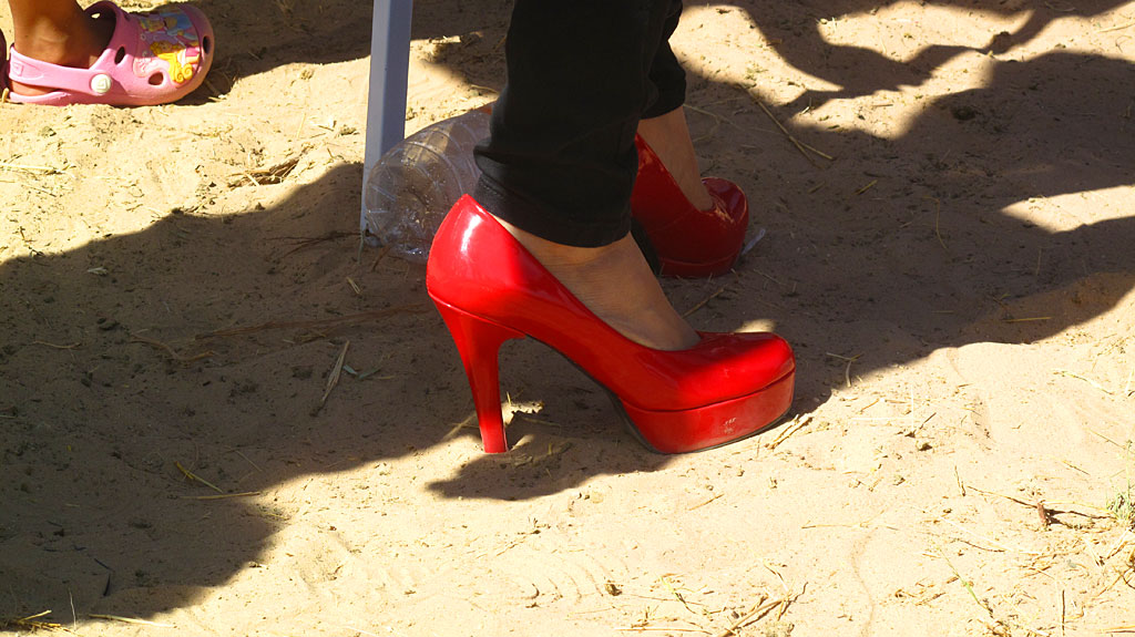 A race spectator's shoes, right about here.